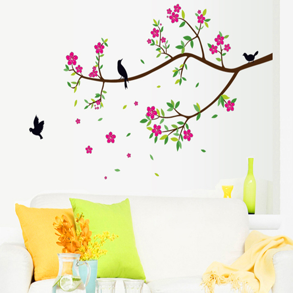 Branches of flowers birds sitting room background can remove wall household adornment wall stickers