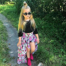 ST343 New 3Pcs.Clothing for Little Girls Clothes Fashionable Autumn Clothes Set with Tops T-Shirt+Shorts +Dovetail Skirt Suits