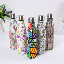 Creative Water Bottle Floral Vacuum Insulated Cold Milk Fruit Tea Cup Stainless Steel Thermos Portable Outdoors Drinkware