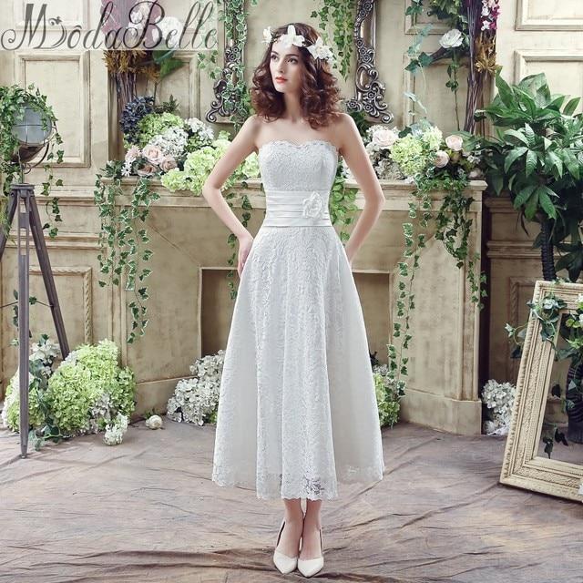 Modabelle 2016 Summer White Lace Sweetheart A Line Tea Length Wedding Dress Beach Simple Hochzeitskleid