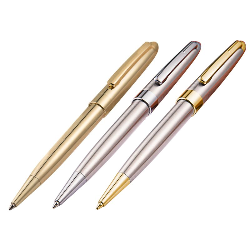 1Pcs 1.0mm Luxury Metal Rotary Ballpoint Pen Signature Rollerball Business School Office Supplies Writing Gift 3 Colors