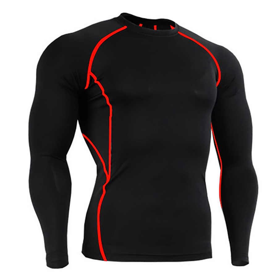 3XL Olahraga Kemeja Berkualitas Tinggi Pria Rashgard Pria Menjalankan T kemeja Cepat Kering Kemeja Kompresi Gym Kebugaran Ketat Sepak Bola Tshirt Jersey
