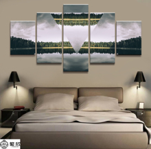 Home Decor Modular Canvas Picture 5 Piece Reverse the World Scenery Art Painting Poster Wall For Wholesale