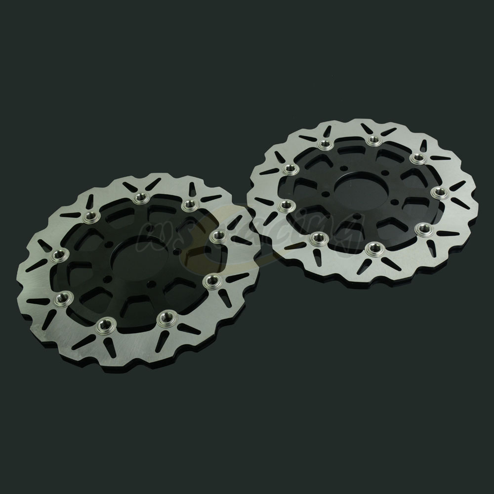 290MM Motorcycle Front Wavy Floating Brake Disc Rotor For SUZUKI GSX600F 03-06 GSF BANDIT 650 05-06 GSF650 04-06 GSX750F 04-06 296mm motorcycle front wavy floating brake disc rotor for honda cbr600f4i cbr600f cb919f vtx1800 vtx1800f vtx1800n vtx1800t