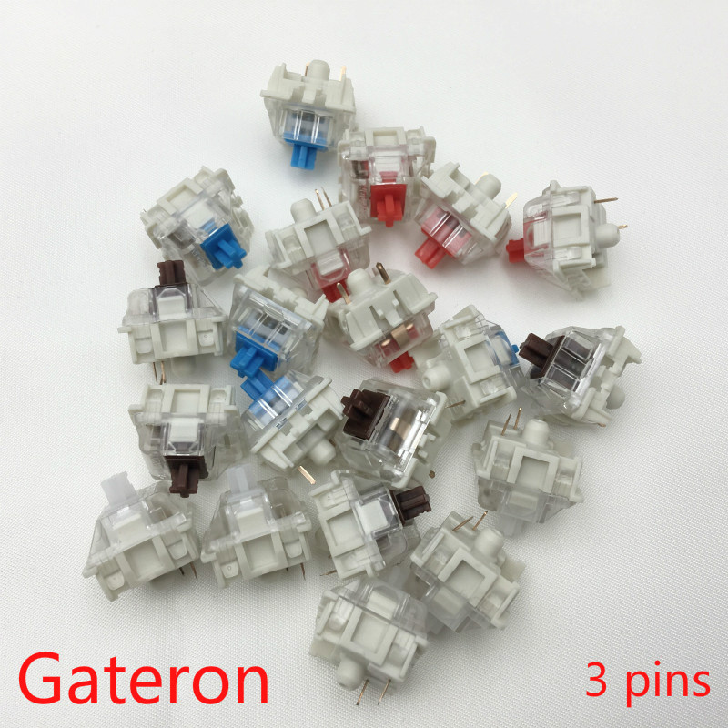 Gateron SMD Switches Black Red  Brown Blue Clear Green  Yellow 3pins Switch For Mechanical Keyboard Fit GK61GK64 GH60(China)