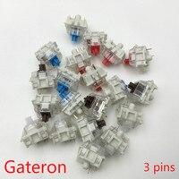 Gateron SMD переключатели черный, красный, коричневый, синий, прозрачный, зеленый, желтый, 3 контакта переключатель для механической клавиатуры п...