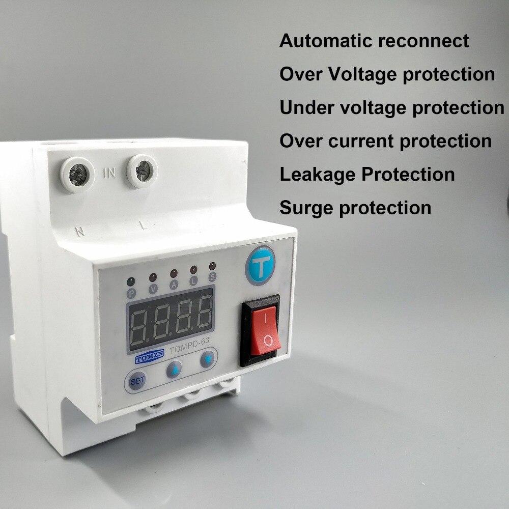 63A reconnexion Automatique disjoncteur avec sur et sous tension et plus de protection contre les surtensions de courant De Fuite protéger relais