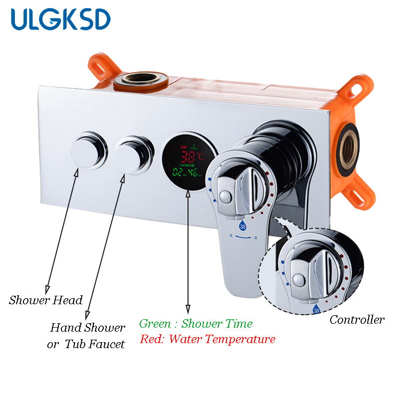 ULGKSD Thermostatic Mixing Valve Brass Wall Mounted 2 Ways Shower Faucet Bathroom Concealed Controller dual handle thermostatic faucet mixer tap copper shower faucet thermostatic mixing valve bathroom wall mounted shower faucets