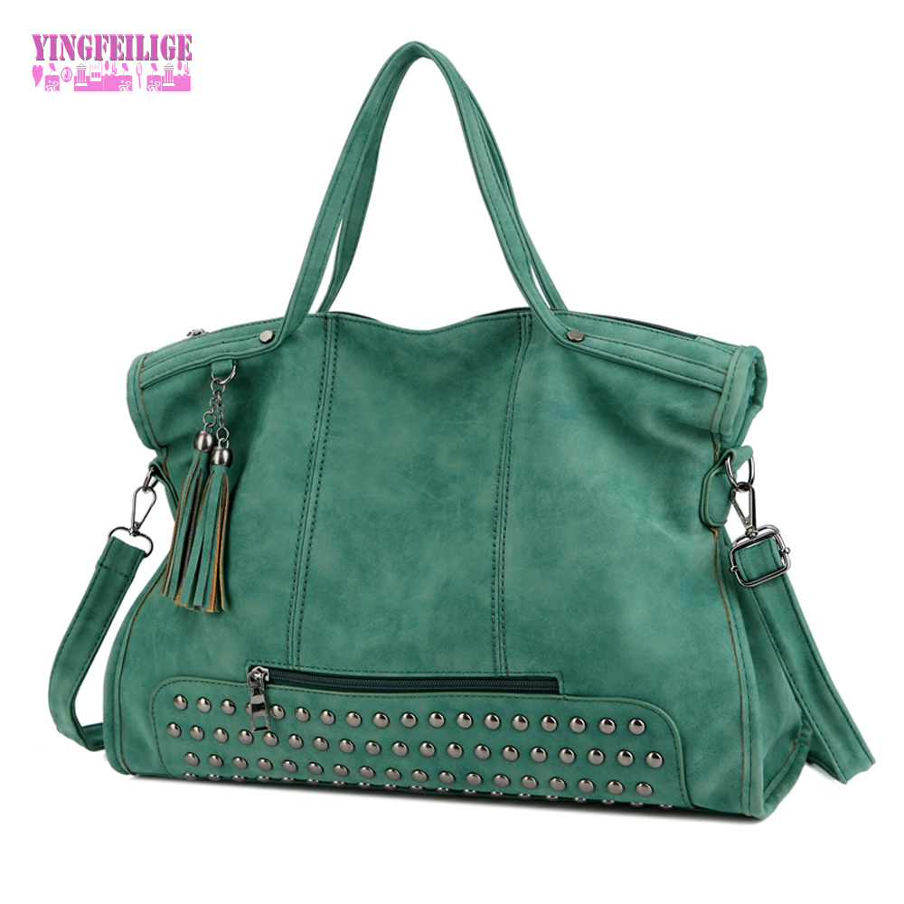 Large Capacity Famous Brand Rivet Handbag Fashion Women Messenger Tassel Shoulder Bag Pu Leather Female Big Casual Tote Bag vvmi 2016 new women handbag brand design rivet suede tassel bag chic classic vintage saddle bag single shoulder bag for female