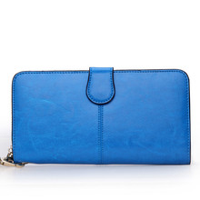 2016 High Quality Brand Solid Fashion Women Oil Genuine Leather Bag Long Wallet Coin Phone Pocket Card Holder Clutch Purse Bags