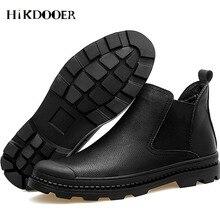 Новый Для мужчин Сапоги Челси из натуральной кожи слипоны обувь с круглым носком модная обувь Высокое качество сапоги мужские короткие Мокасины