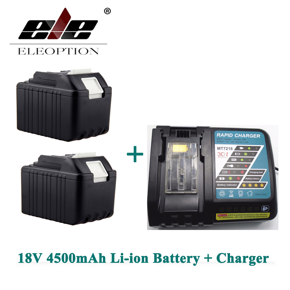 ELEOPTION 2PCS Rechargeable Power Tool battery for Makita 4500mAh 18V Li-ion BL1830 LXT400 194205-3 BL1840 Battery + ChargerELEOPTION 2PCS Rechargeable Power Tool battery for Makita 4500mAh 18V Li-ion BL1830 LXT400 194205-3 BL1840 Battery + Charger