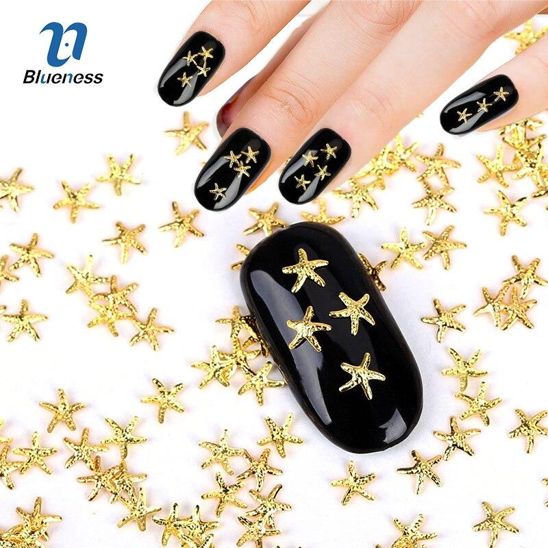 Blueness 1000pcs/pack 3d Gold 5*5mm Starfish Design Alloy Nas