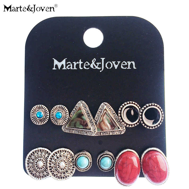 Marte&Joven Round/Oval/Triangle Vintage Earrings Set for Women Mix Rhinestone/Acrylic Antique Silver Big Stud Earrings 6pcs/set