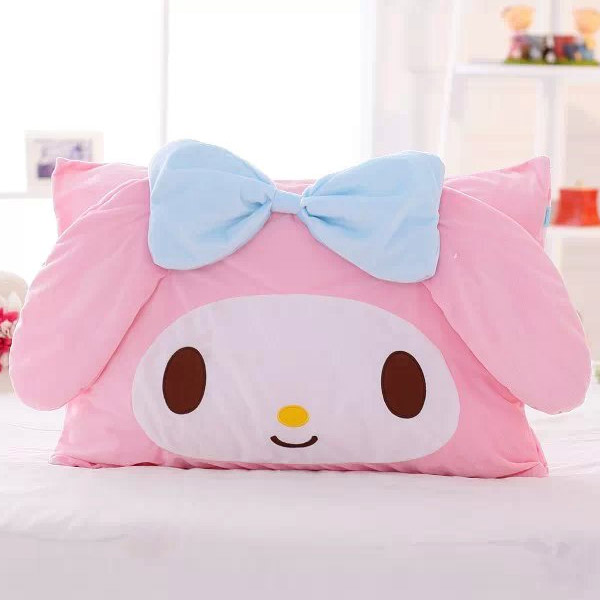 candice guo! cute plush toy lovely cartoon pink bowknot melody Marie cat soft rectangle pillowcase birthday Christmas gift 1pc