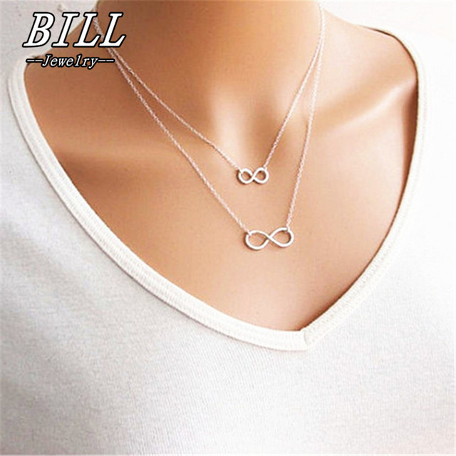 ae7ac226a9f7 N668 Gros Collier Femme 2018 Multi Layer Necklace Gold Silver Plated Chain Bisuteria  Mujer Double Infinity Necklaces   Pendants