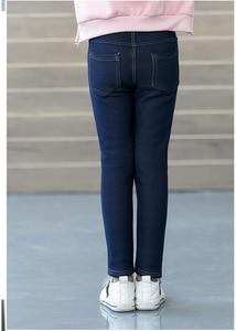 Новинка, детская одежда, зимние Утепленные флисовые джинсы для девочек, модные эластичные бархатные теплые джинсовые детские черные синие Леггинсы|Брюки|   | АлиЭкспресс