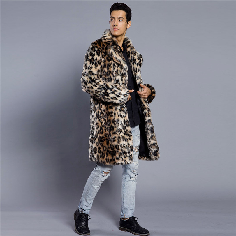 Lanshifei Winter Fashion Fur Coat Men's Fur Clothing Thick Faux Fur Leopard Jacket Men's Fur Long Coat Man Warm Fake Fur Clothes