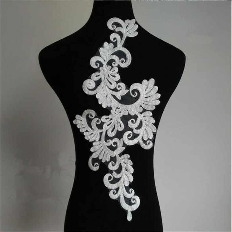1 par espejo/2 uds marfil flor Floral Venecia Aplique de encaje de algodón adornos de costura DIY 45X21cm BD0298