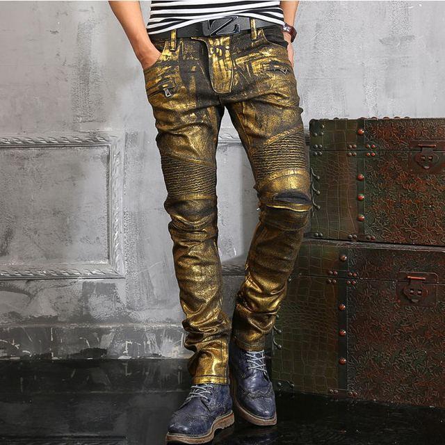 Más el tamaño de oro de alta calidad los hombres delgados pantalones largos masculinos cantantes DJ etapa Pantalones de traje los hombres del club nocturno ds moda inferior pantalones vaqueros