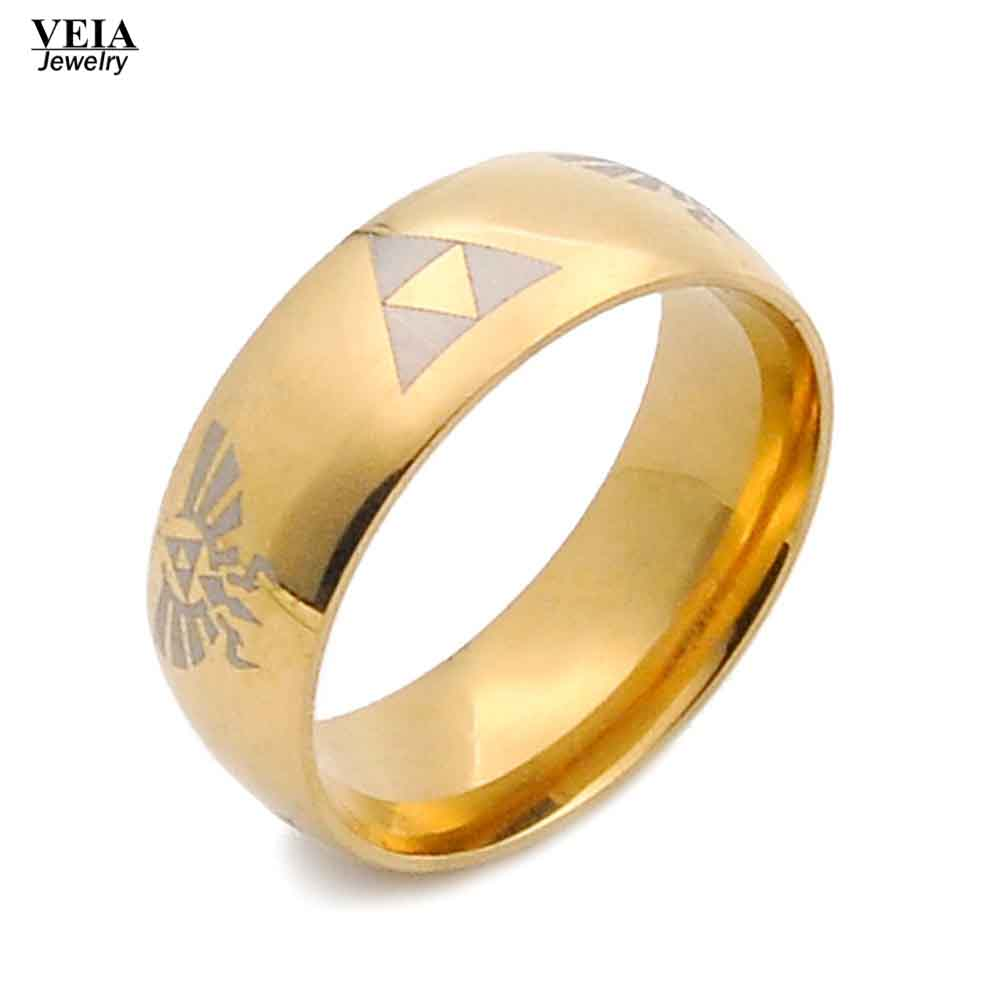 Legend Of Zelda Ring Shiny Black Gold Silver Mens Tungsten Carbide Wedding  Titanium Stainless Steel Ring