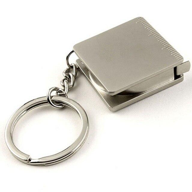 Portable Mini Metal Alloy Steel Small Square Tape Measure Ruler Keychain  Key Ring Keyfob Key Holder