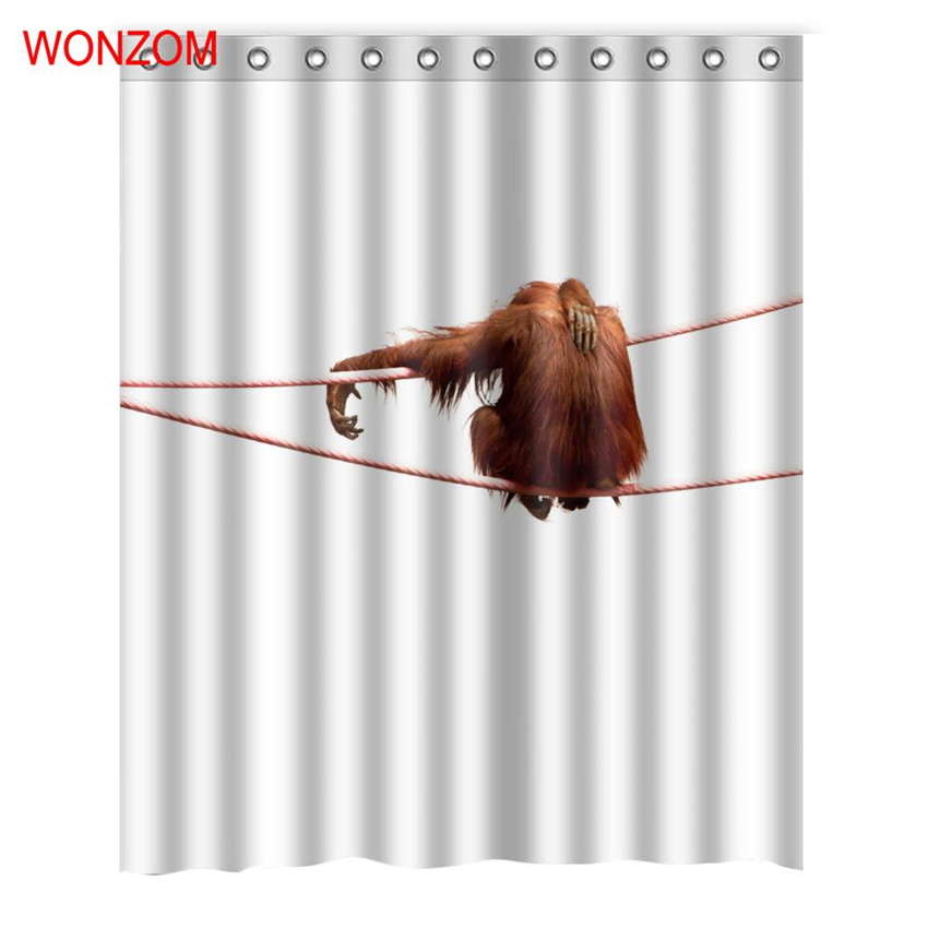 WONZOM Monkey Shower Curtains With 12 Hooks For Bathroom Decor Modern Bath Waterproof Curtain 2017 New Accessories In From Home