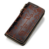Hand made Women Laser Engraving Chinese Calligraphy Wallets Zipper Black Bag Purses Men Clutch Vegetable Tanned Leather Wallet