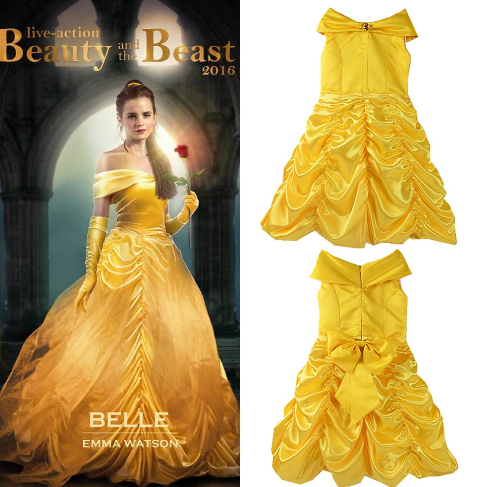 2017 Movie Beauty And The Beast Princess Belle Kids Cosplay Costume Girl Yellow Wedding Dress In Girls Costumes From Novelty Special Use On Aliexpress