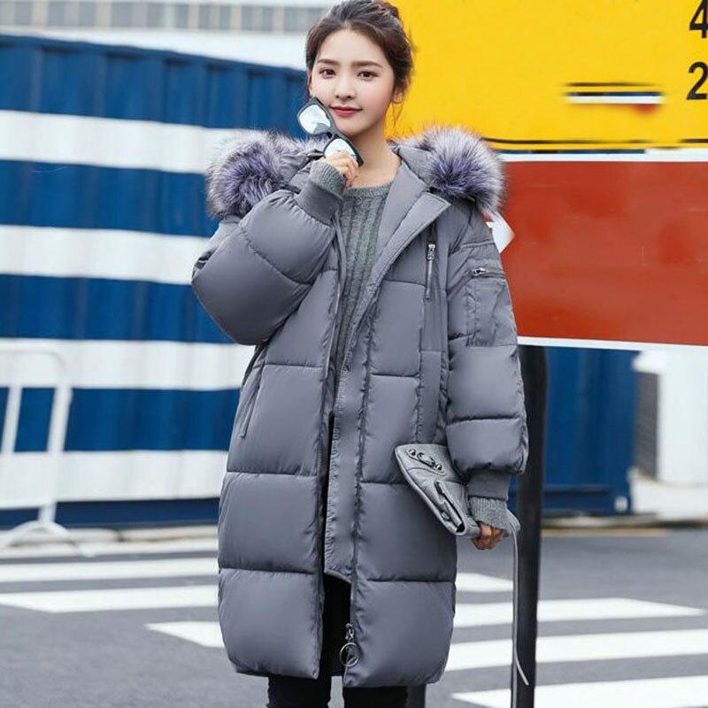 Qh0514 Kaki Manteaux light Taille Parkas D'hiver Chaud gris Brown Noir Femme Coréenne Parka Élégant Vêtements De Femmes Grande Longue Manteau Solide Veste ikPlwOXZuT