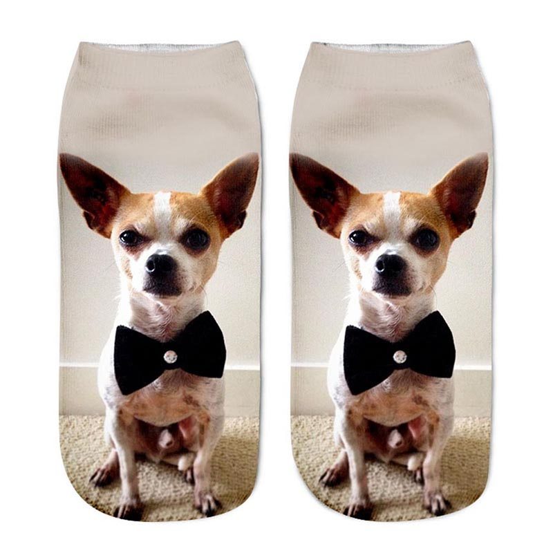 1Pair 3D Socks Cotton Socks Dog Printed Sport Camping/Hiking Style Low Anklet Socks Women Cropped Cute Socks