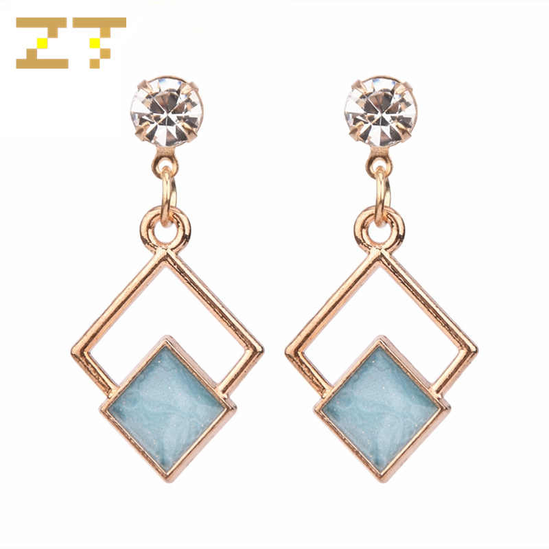 2019 New Fashion Crystal Earrings Statement Blue Geometric Square Dangle Drop Earrings for Women Jewelry Brincos Aretes De Mujer