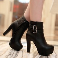 High Heel Fashion Belt Buckle Motorcycle Boots Ankle Boots Women Platform Shoes Drop Shipping