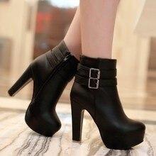 Frauen Faux Leder Komfortable Stiefeletten Plattform High Heel Booties für Frauen Mode Schnalle Winter Kleid Schuhe Schwarz Weiß