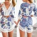 Лето женщины сексуальные кружева крючком Boho пляж платье цветочные шифона рубашку блузка сарафан