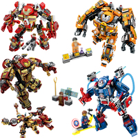 Super Heroes Avengers Iron Man Armor Warrior Building Blocks Compatible Legoe Enlighten Brinquedos Toys For Children