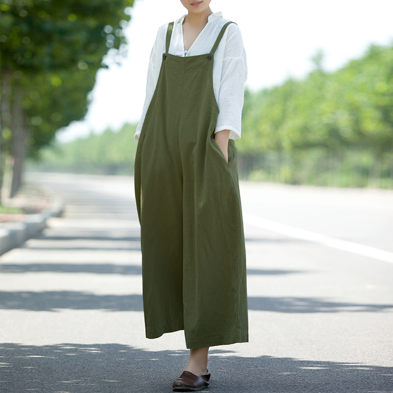 2018 ZANZEA Women Summer Dungarees Jumpsuits Strappy Pockets Solid Wide Leg Pants Casual Loose Rompers Party Baggy Bib Overalls