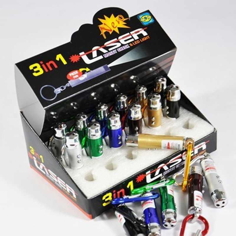 Keychain UV לפיד לייזר עט מצביע קרן אינפרא אדום 3 ב 1 מיני LED פנס נייד לייזר לפיד/מזויף פנס