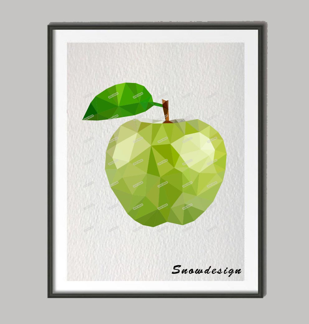 low poly modern geometric apple canvas painting kitchen wall art poster print pictures home decor wall