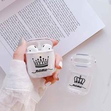 Crown Couple Hard Earphone Case For Apple Airpods Protective Cover DIY Customized Clear Luxury Cases