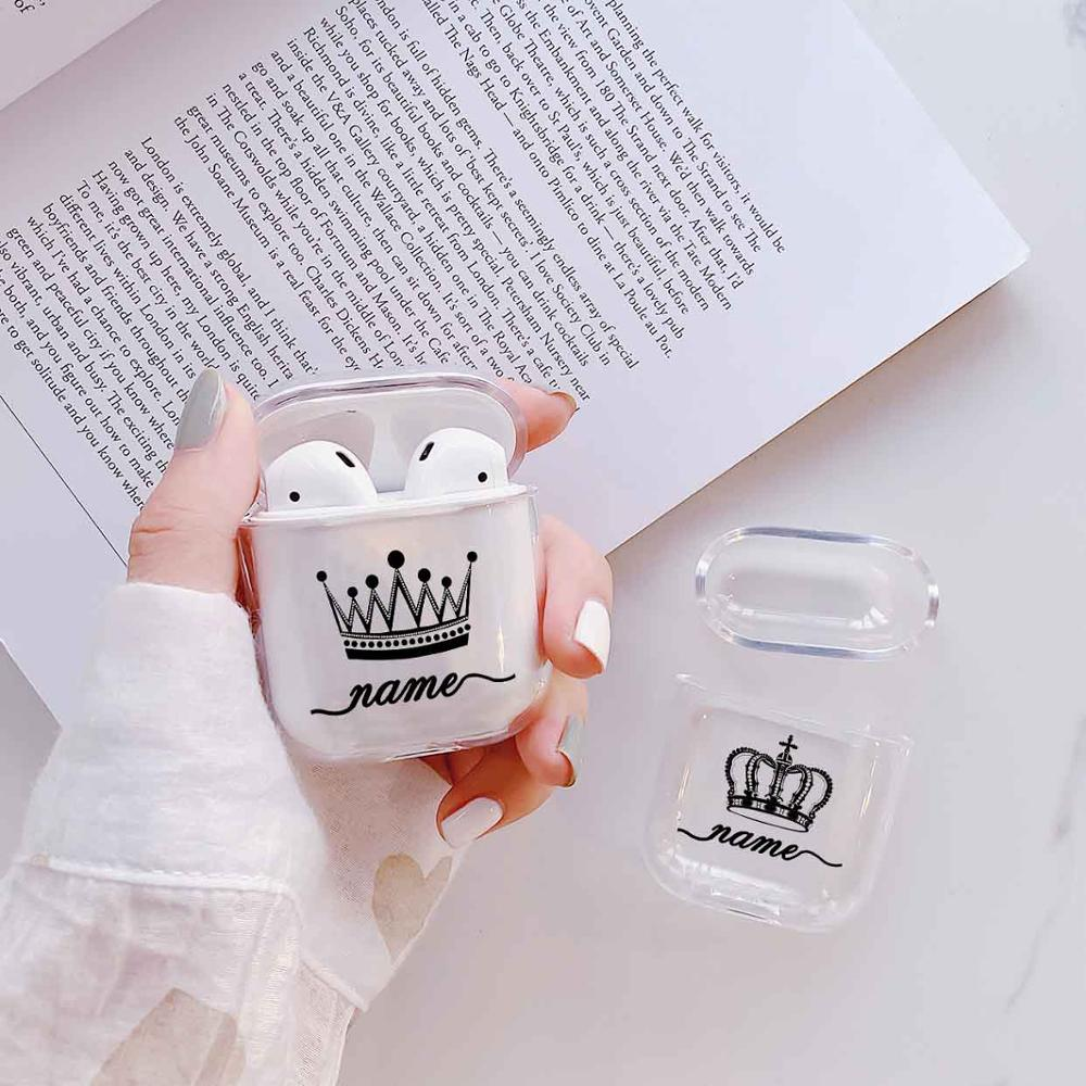 Crown Couple Soft Earphone Case For Apple Airpods 1/2   Protective Cover DIY Custom Clear Luxury Earphone Case For Airpods Cases