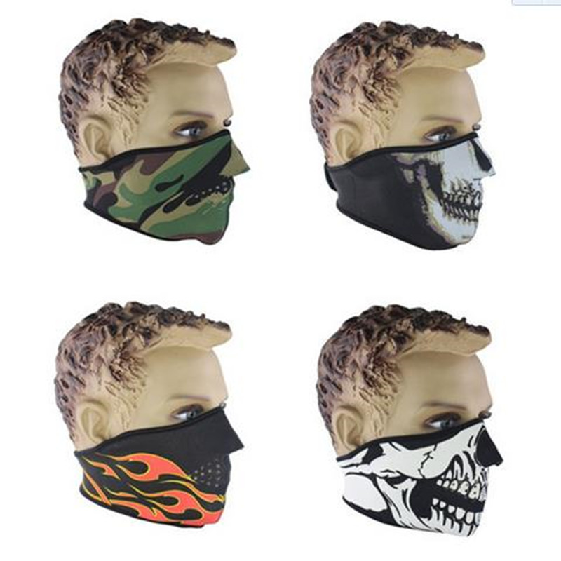 Halloween Motorcycle Neck Face Carbon Bicycle Bike Training Mask Half Face Paintball Ski Sport Headband Military Game Masks