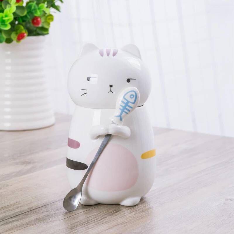 Cartoon Cups 3D Cat Mug Coffee Mugs Personality Ceramic Cat Mug with Spoon Milk Cups Tea Mug