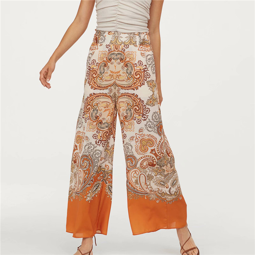 Women paisley print   wide     leg     pants   pockets elastic waist female 2019 summer causal vintage chic trousers pantalones
