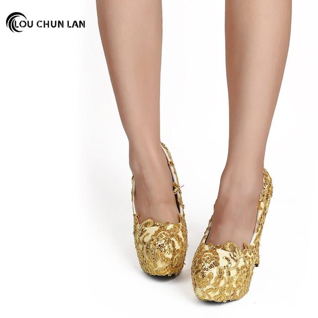 LOUCHUNLAN Shoes Women s Shoes Pumps Gold Wedding Shoes Bling High Heels  Round Toe Party Shoes Drop Shipping 4629914654c2