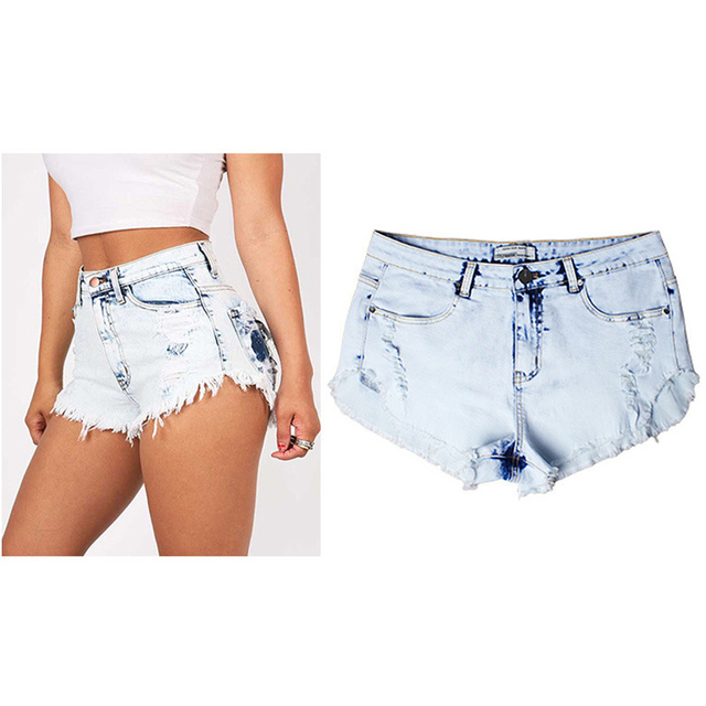 2016 Summer Female Casual Women Jeans Shorts Tide hole jeans female light color high waist wear white washed frayed denim shorts