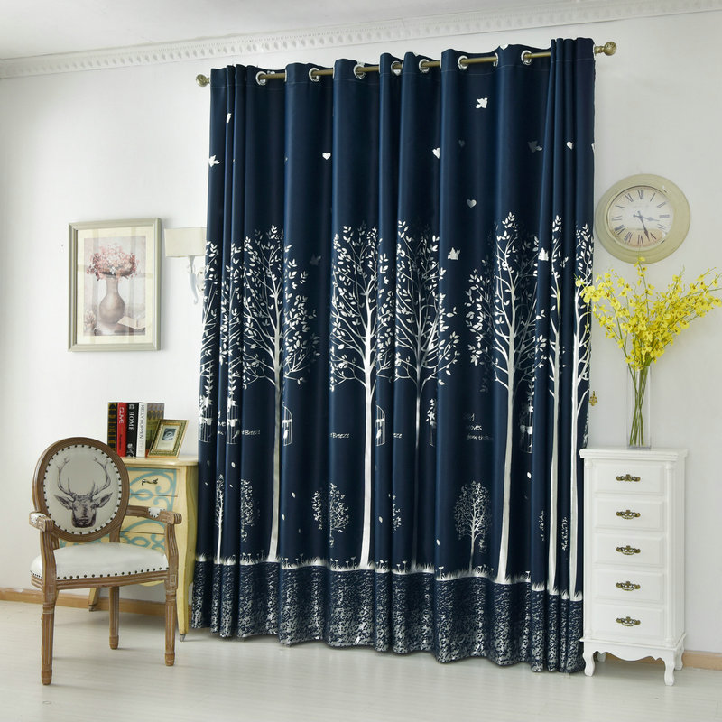 navy plant blackout curtain for bedroom living room kitchen silvery tree printed drape for kids. Black Bedroom Furniture Sets. Home Design Ideas