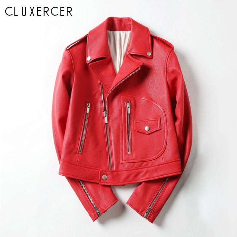 Autumn Winter Red Black Leather Jacket Women 2018 New Fashion Soft Short Zipper Ladies Motorcycle Leahter Jacket