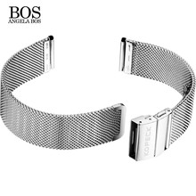 ANGELA BOS 20mm Watch Strap Rose Gold Stainless Steel Mesh Metal Watch Bracelets Women Men Watch Band 18 Mm Watchband(China)