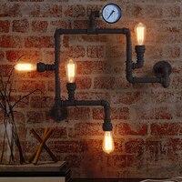 خمر الرجعية لوفت الصناعية المطاوع الحديد ريفي انبوب ماء الجدار مصباح مع اديسون لمبات محاكاة قياس الضغط ل مقهى